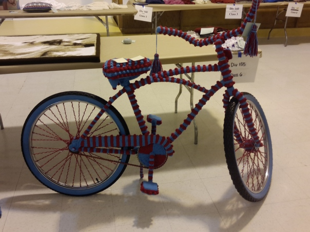 """Bombed"" bicycle in crochet"
