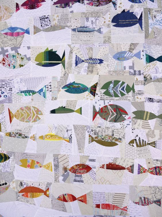 fish quilt with white and black bakgrnd